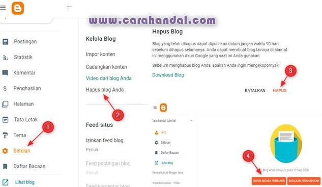 Cara Menghapus Blog di Blogger.com