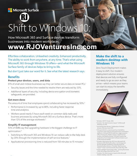 Shift to Windows 10, Microsoft 365 and Surface Devices to Transform into Modern Workplaces [RJOVenturesInc.com]