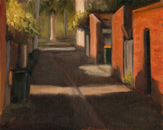 Oil painting of a laneway bordered by brick buildings, iron fences and overhanding trees.