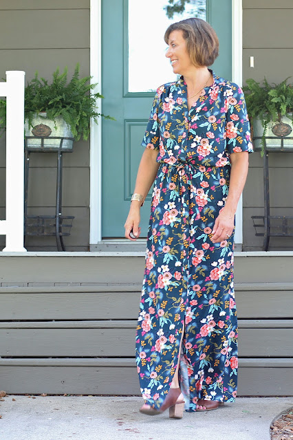 Style Maker Fabrics' Les Fleurs Birch Floral Rayon Navy sewn into a Simplicity 8084  maxi dress, designed by Mimi G -