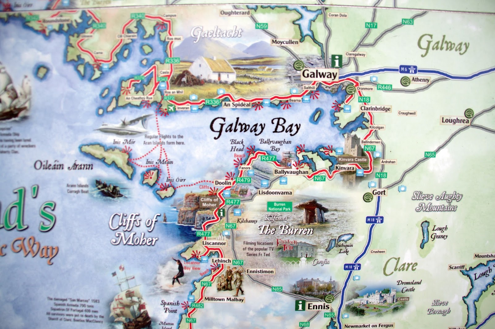 Map of Wild Atlantic Way Ireland
