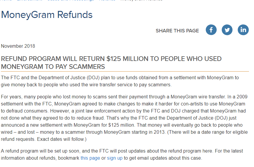 ScamHaters United Ltd: MONEYGRAM REFUNDS PROGRAMME   READ