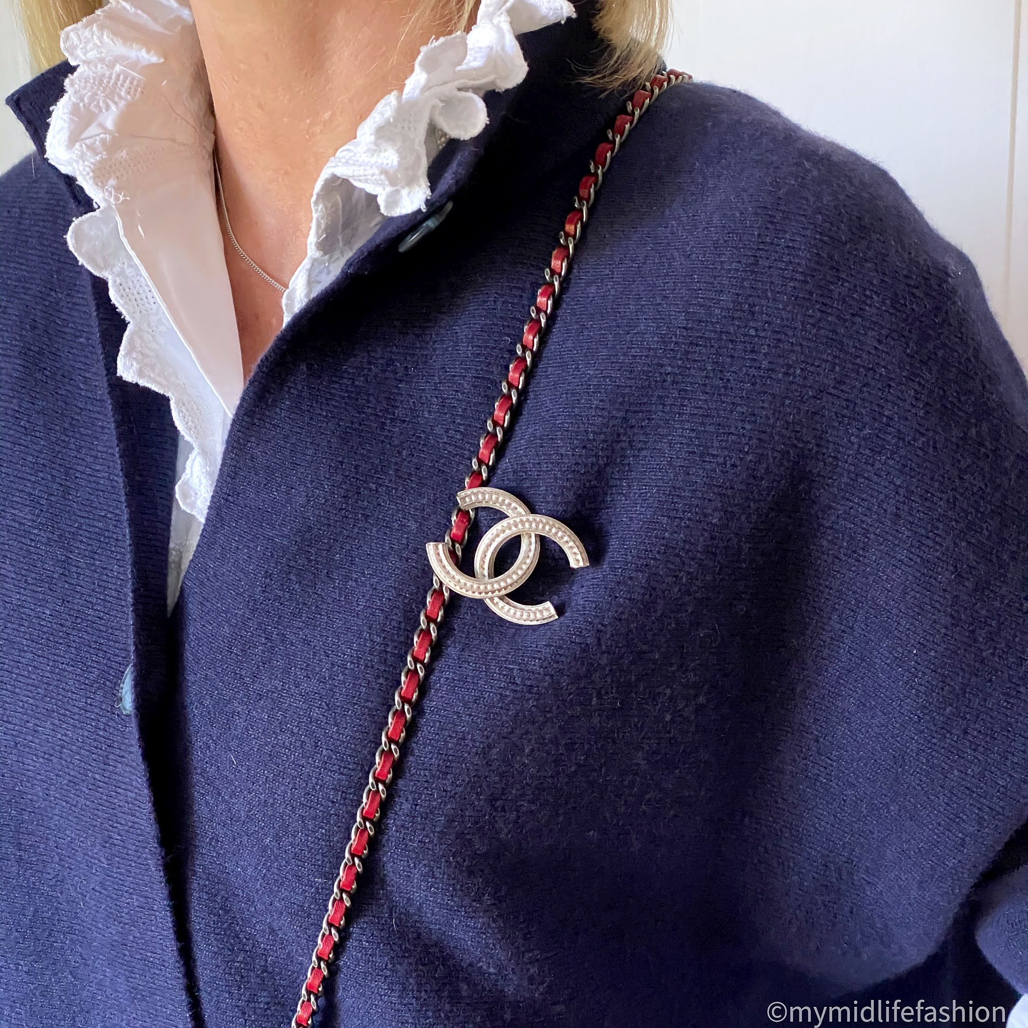 my midlife fashion, pink avocet Bergamo jacket, Isabel Marant Etoile blouse, Chanel brooch, Chanel wallet on chain