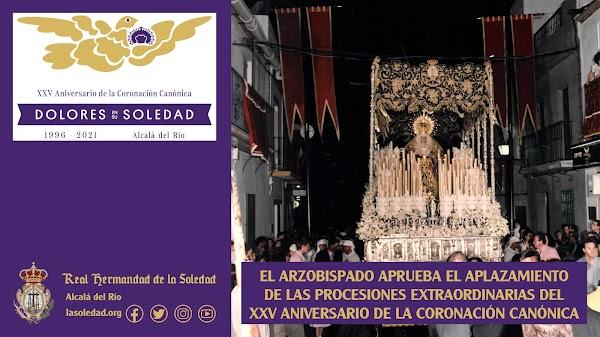 El Arzobispado aplaza las procesiones Extraordinaria de Soledad de Alcalá del Río