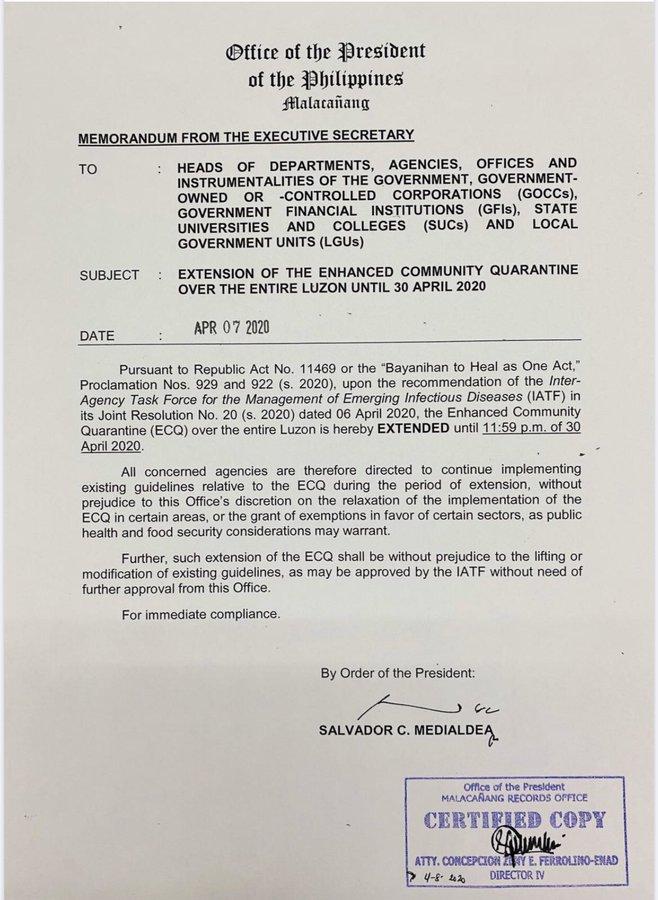 memorandum dated April 7, extending the Luzon-wide lockdown