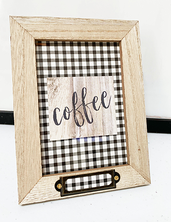 buffalo checked background on coffee sign frame