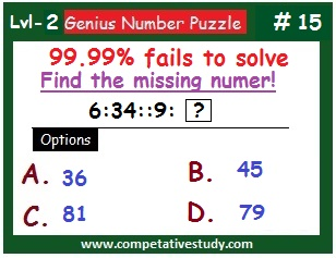 Number Puzzle: Find the missing number: 6 : 34 :: 9 : ?