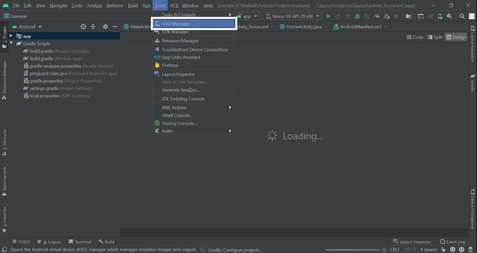 Get Emulator Name From Android Studio