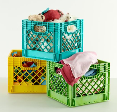milk crate storage in 3 colors