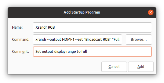 Add xrandr display setting command to Startup Applications