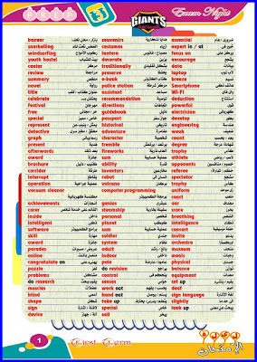 تجميعة أهم كلمات اللغة الانجليزية للصف الثالث الاعدادى فى ورقة واحده