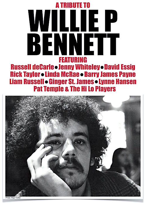 Willie P. Bennett tribute @ Hugh's Room, February 8