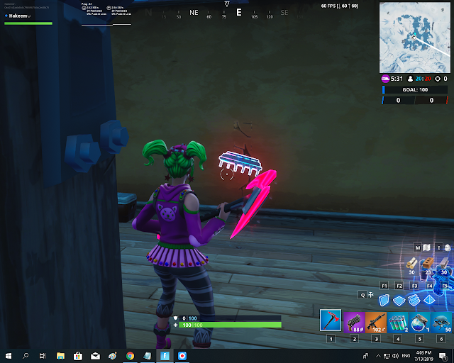 Accessible by using the Scarlet Scythe Pickaxe to smash a blue canoe under a frozen lake FORTBYTE Mission #94
