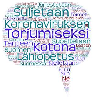 Sanapilvessä on puhekuplan muodossa sanoja hallituksen koronan torjuntatoimista.