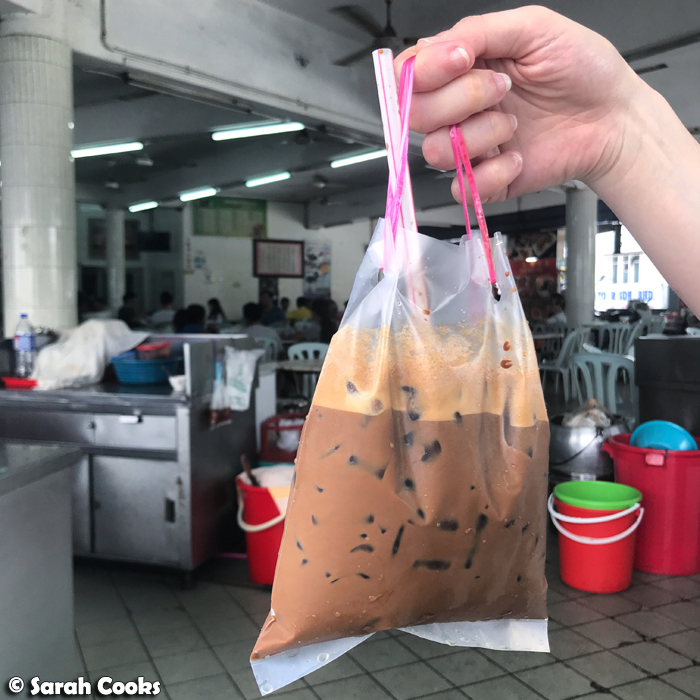 Takeaway iced coffee in a bag