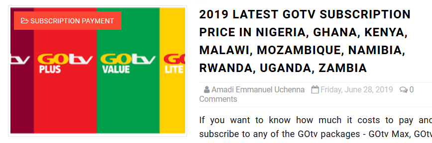 LATEST GOTV SUBSCRIPTION PRICE IN NIGERIA, GHANA, KENYA ETC
