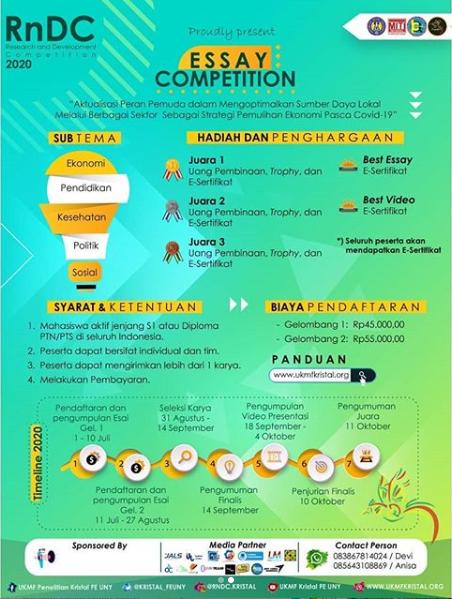 Lomba Essay Nasional RnDC 2020 di Universitas Negeri Yogyakarta