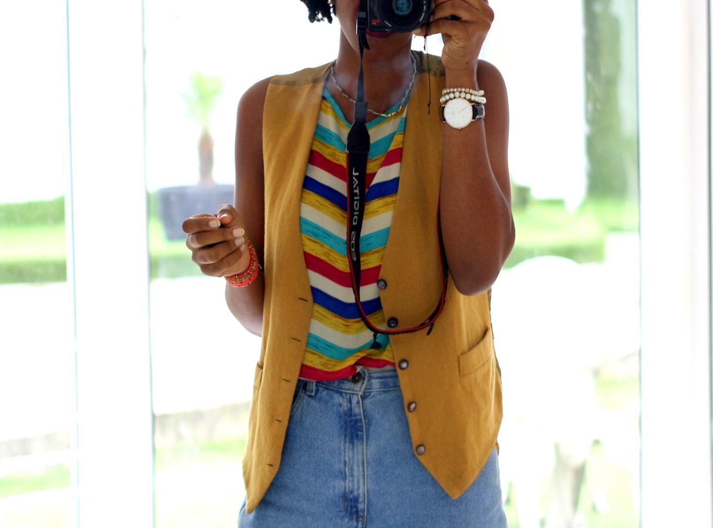 styling a mustard female  vest