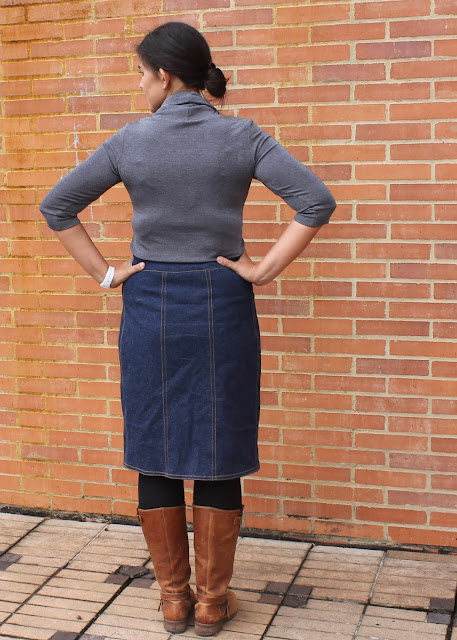 Back view of a denim skirt sewn from the DIBY Club Anna Skirt pattern.
