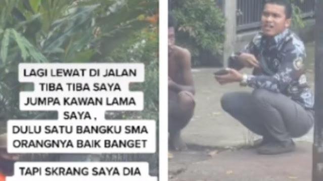 Bertemu Teman SMA yang jadi ODGJ di Jalanan, Tindakan Pria Ini Dapat Acungan Jempol
