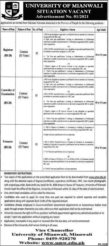 University of Mianwali Jobs 2021 in Pakistan