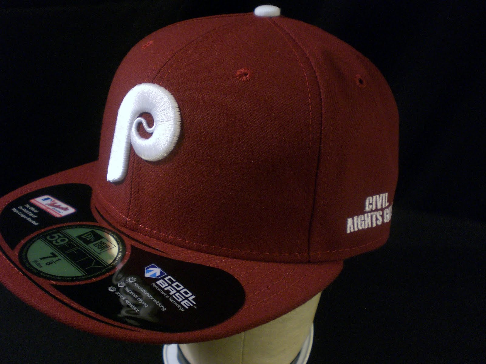 The New Era cap features a grotesquely large P in raised embroidery. fd9173280f3
