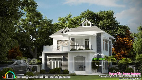 3 BHK Colonial house plan