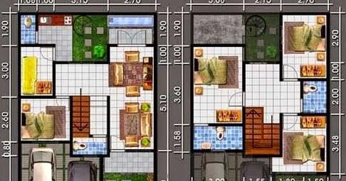 contoh denah dan gambar rumah minimalis lantai 2 ukuran
