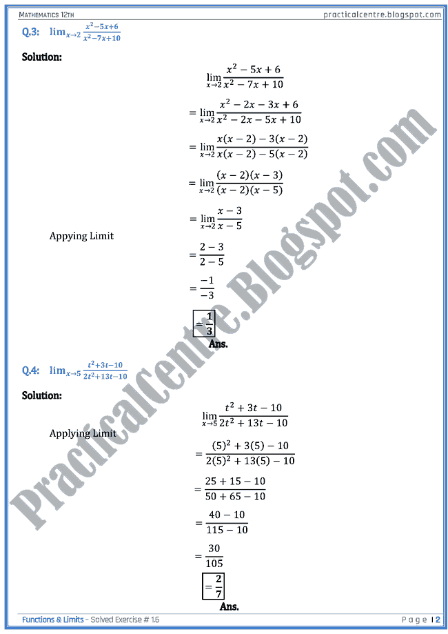 2nd Year Maths Notes Chapter 1