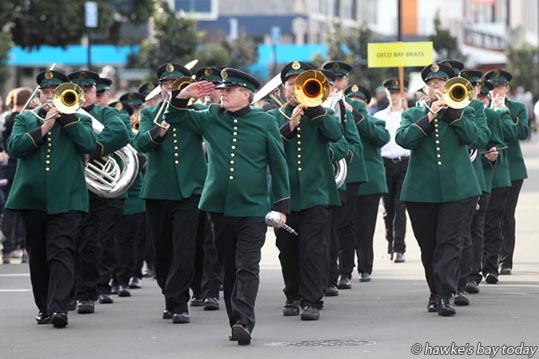 Saluting Bill Dalton, mayor of Napier City Council - Deco Bay Brass, a Hawke's Bay band - Parade of Bands event of the 2016 Deco Bay Festival of Brass, The New Zealand Brass Band Championships, on Hastings St, Napier. photograph