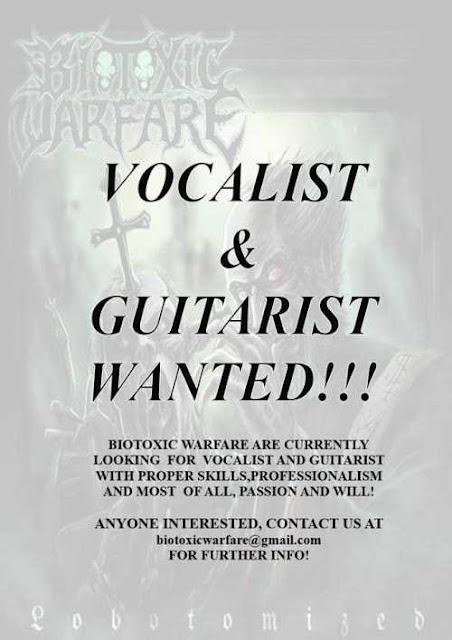 BIOTOXIC WARFARE: Σε αναζήτηση τραγουδιστή και κιθαρίστα