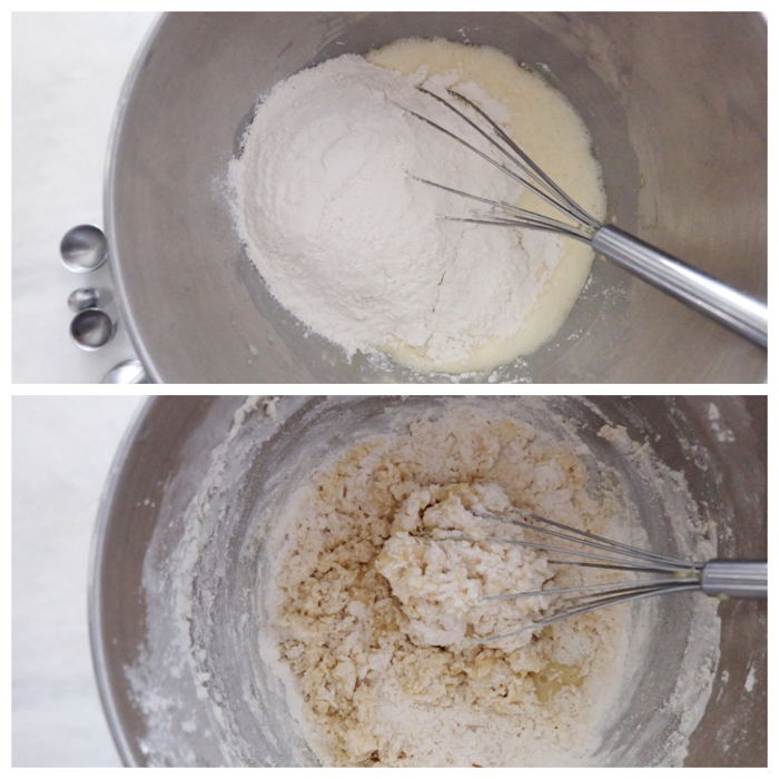 adding flour to bloomed yeast in mixer bowl