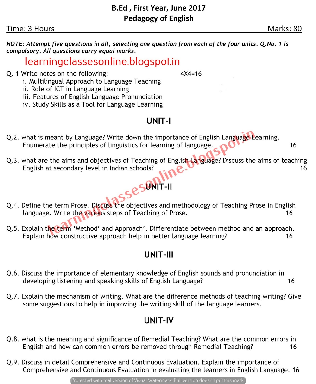 pedagogy of english 2017  B.Ed Previous Year Question Paper