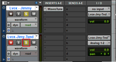Track solo button in Avid Pro Tools