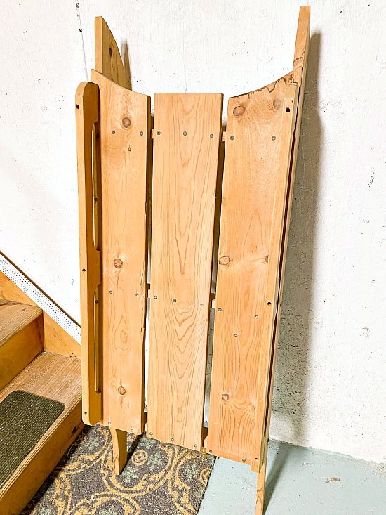 Large wooden hand made sled