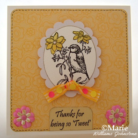 Spring bird blue tit songbird rubber stamped yellow handmade card