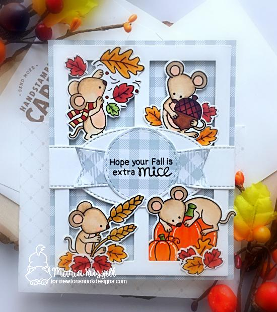 Fall Mouse Card by Maria Russell | Autumn Mice Stamp Set by Newton's Nook Designs #newtonsnook #handmade