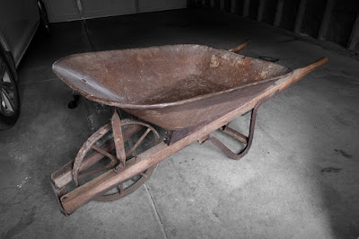 vintage antique steel wood wheelbarrow