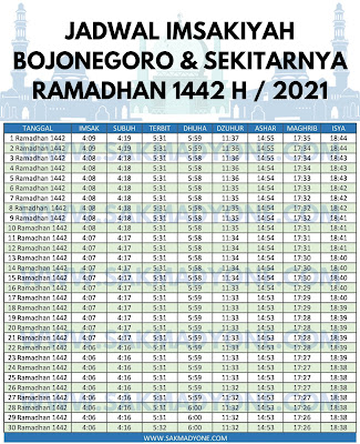 Jadwal imsakiyah ramadhan 2021 bojonegoro