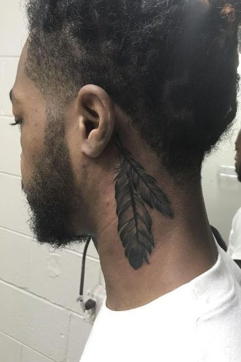 Feather Tattoo on Neck