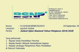 Jadwal Lengkap UN UNBK UNKP Tahun 2020 SMP/MTs SMA/MA/SMK dari BSNP