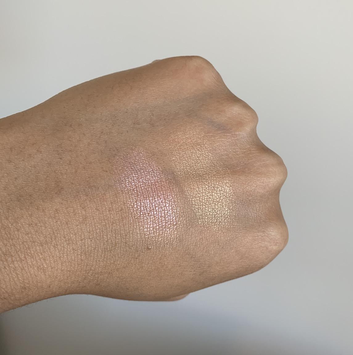 NARS Highlighting Powder in Maldives and Ibiza swatches on dark skin NC45