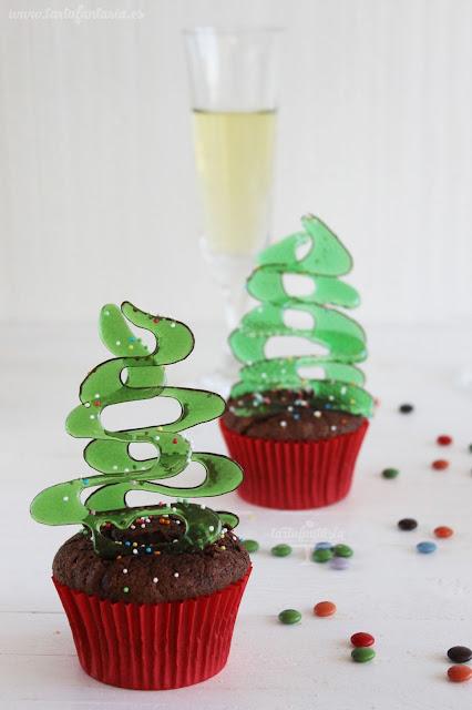 cupcakes con árbol de navidad de cristal comestible