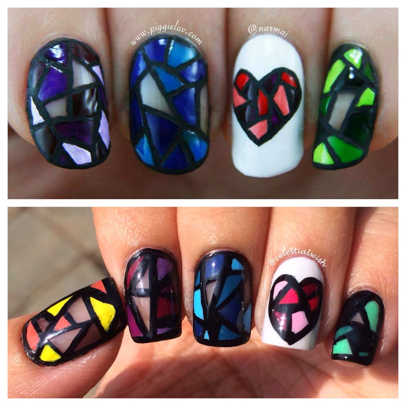 Stained Glass Nail Art: Celestial Wish: Stained Glass Nail Art