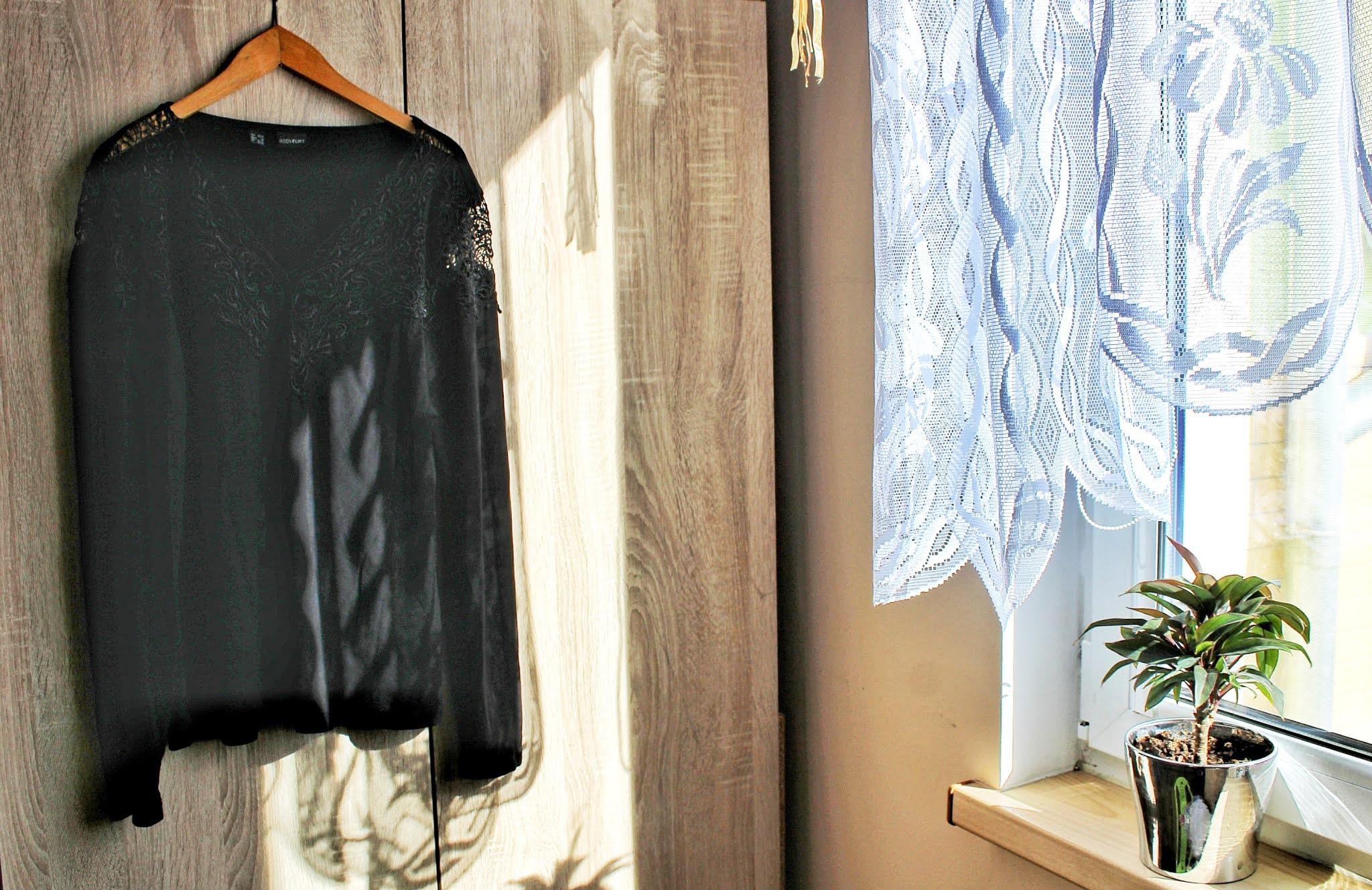 Bonprix Shirt z długim rękawem i koronką