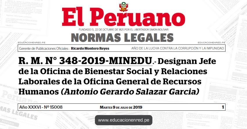 R. M. N° 348-2019-MINEDU - Designan Jefe de la Oficina de Bienestar Social y Relaciones Laborales de la Oficina General de Recursos Humanos (Antonio Gerardo Salazar Garcia) www.minedu.gob.pe