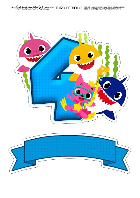 Baby Shark Party with Number 4: Free Printable Cake Toppers.