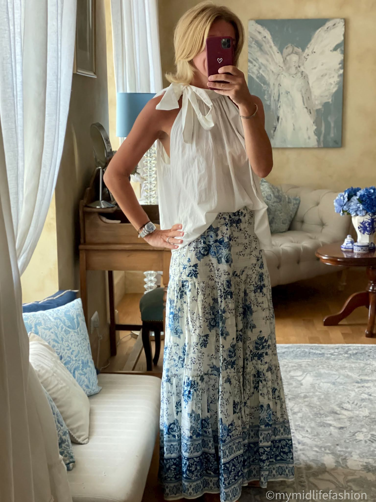 my midlife fashion, halter neck pussy bow tie blouse, Zara floral tiered maxi skirt, havaianas slim fit gold flip flops