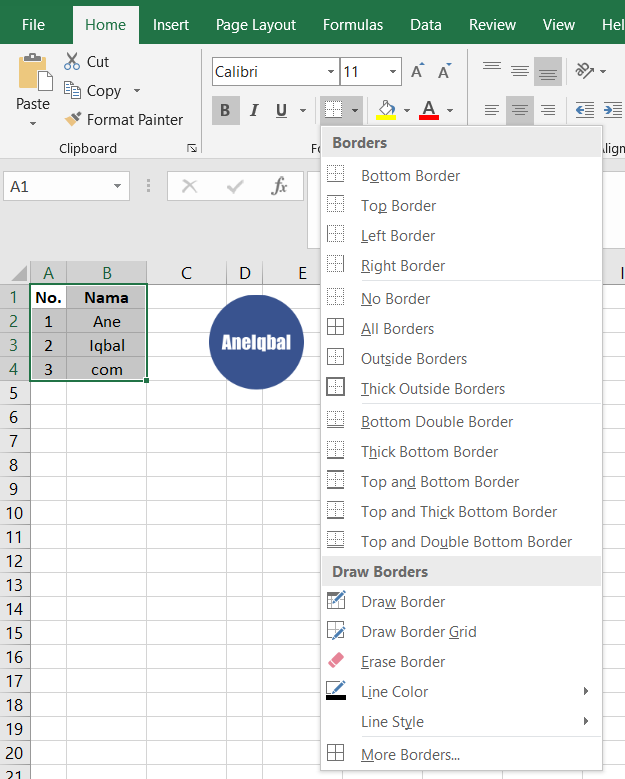 Cara Membuat Ukuran Kolom Sama Di Excel : membuat, ukuran, kolom, excel, Membuat, Garis, Excel, (Garis, Kolom, Baris), AneIqbal