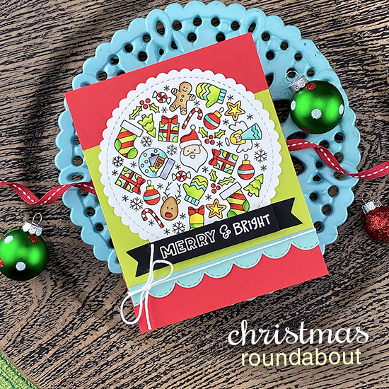 Merry & Bright Holiday card by Jennifer Jackson | Christmas Roundabout Stamp Set, Circle Frames Die Set, Sky Borders Die Set and Banner Trio Die Set by Newton's Nook Designs #newtonsnook #handmade